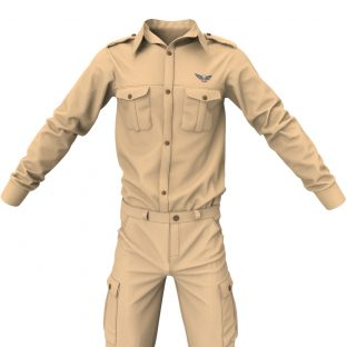 Military Officer Uniform, Civil Service Officer Outfit Marvelous Designer Clothing Templates