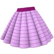 3D Clothing Marvelous Designer Skirt Garment File - Rolled Organ Pleats