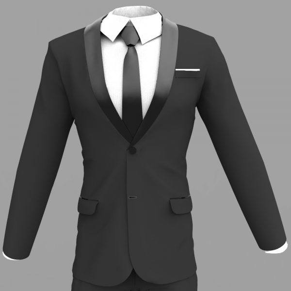 Make a 3D Dynamic Tuxedo with Shawl Collar and Neck Tie