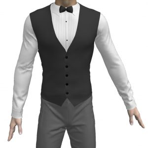 Learn to make a Pleated Tuxedo Shirt with Bow Tie and Vest in our MD5 Workshop