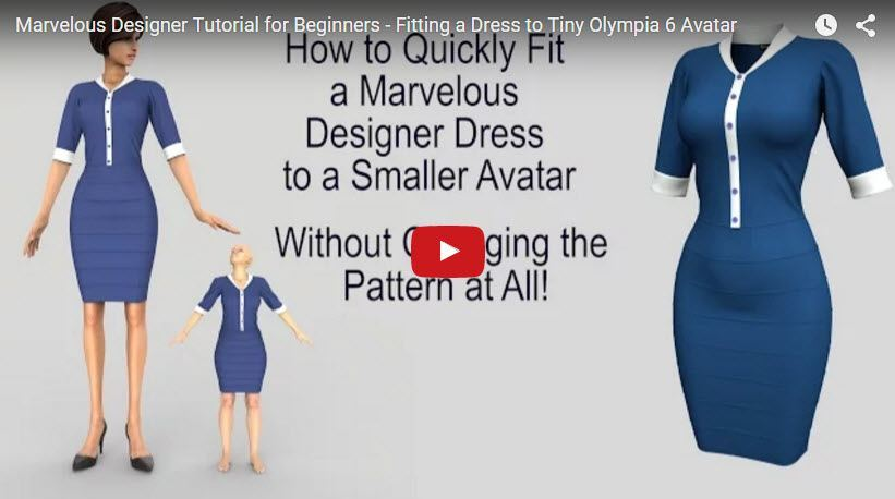 Free Marvelous Designer Tutorial for Beginners Fitting a Dress to Tiny Avatar