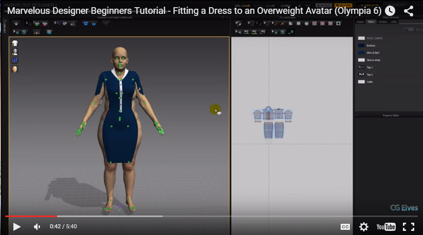 Free Marvelous Designer Video Tutorial Fitting a Dress to a Fat Avatar