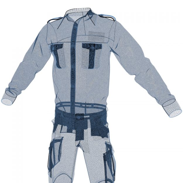 Wireframe View of a Digital 3D Clothing Model