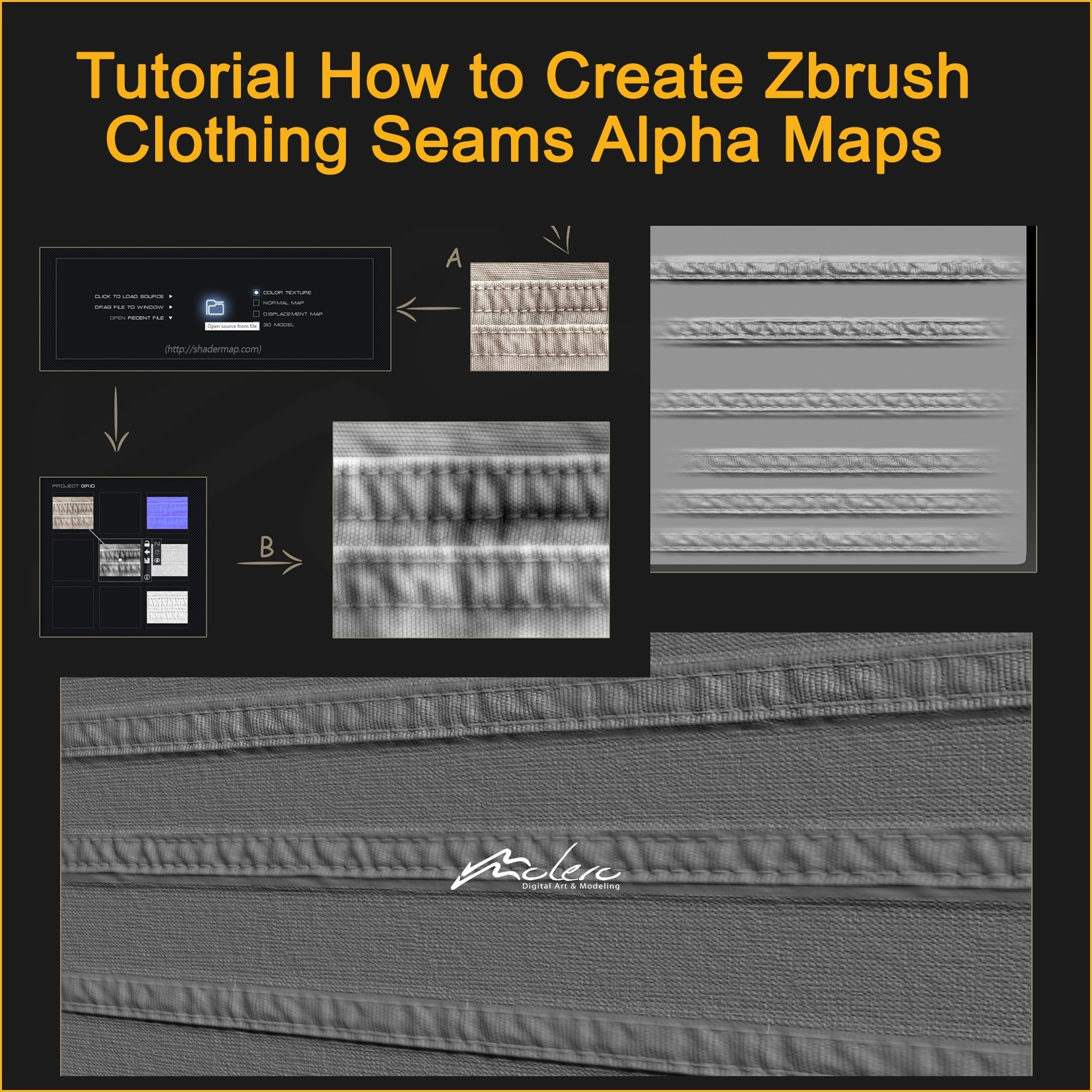 Free Tutorial How to Make ZBrush Clothing Seams Alpha Maps