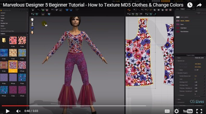 Free Marvelous Designer 5 Beginner Tutorial How to Texture Clothes