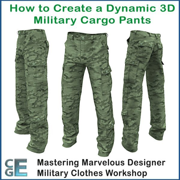 MD156 - Marvelous Designer Army Clothes Workshop - Creating 3D Military Cargo Pants