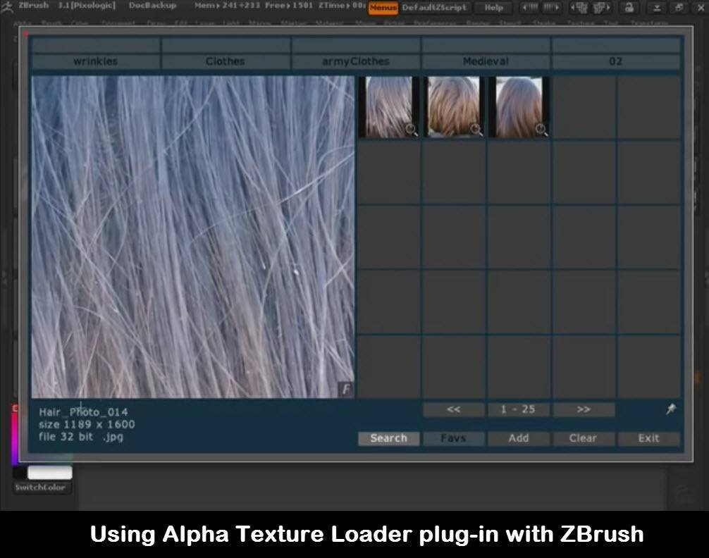 Using Alpha Texture Loader plug-in with ZBrush