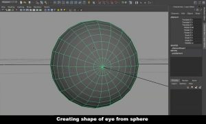 Creating shape of 3D cartoon eye from sphere