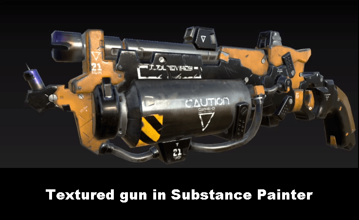 Textured gun in Substance Painter Crash Course for Beginners