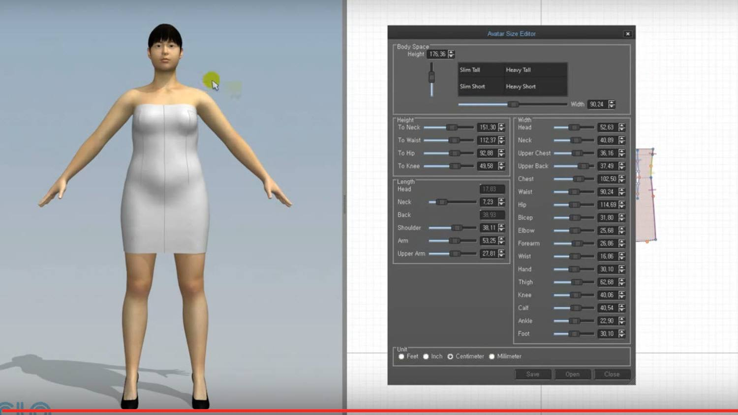 CLO 3D Resizing Avatar Shape tool - After