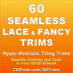 60 Seamless Fancy Lace and Decorative Tiling Trims for Virtual Clothes