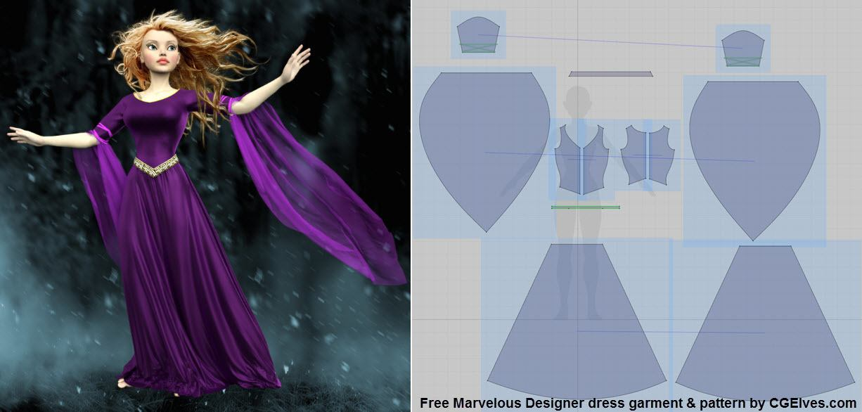 Free Marvelous Designer Dress Garment File and Pattern by Camille Kleinman