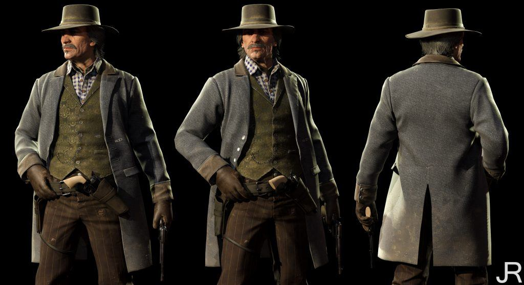 Old Western cowboy outfit 3D clothes